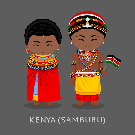 Kenyans in national clothes with a flag. Samburu tribe. Man and woman in traditional costume. Travel to Kenya. People. Vector flat illustration. Çizim