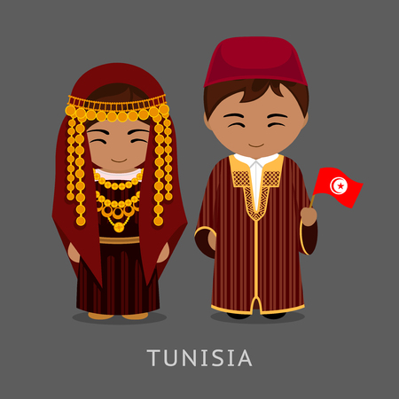 Tunisians in national dress with a flag. Man and woman in traditional costume. Travel to Tunisia. People. Vector flat illustration. Vettoriali