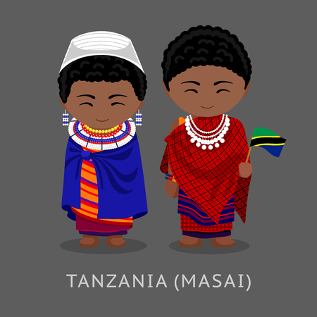 Masai. Tanzanians in national clothes with a flag. Man and woman in traditional costume. Travel to Tanzania. People. Vector flat illustration.
