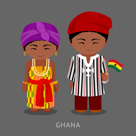 Ghanaian in national clothes with a flag. Man and woman in traditional costume. Cute cartoon characters. Travel to Republic of Ghana. People. Vector flat illustration.