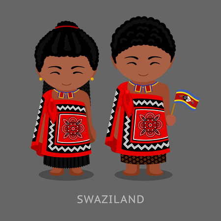 Swazi people in national clothes with a flag. Man and woman in traditional costume. Travel to Swaziland (Kingdom of Eswatini). Vector flat illustration.