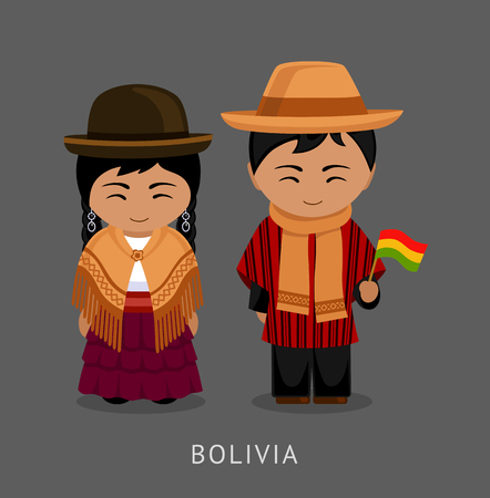 Bolivians in national dress with a flag. Man and woman in traditional costume. Travel to Bolivia. People. Vector flat illustration.