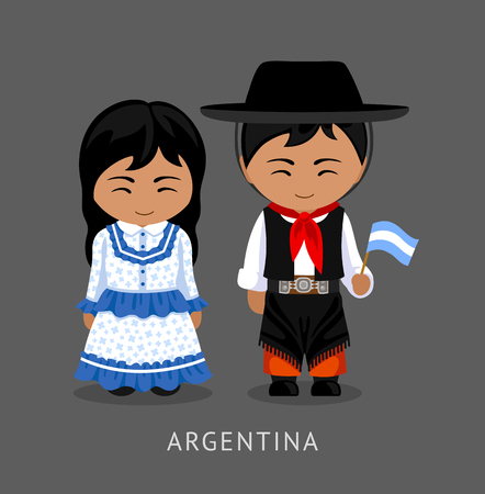 Argentines in national dress with a flag. Man and woman in traditional costume. Travel to Argentina. People. Vector flat illustration.