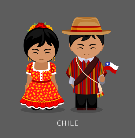 Chileans in national dress with a flag. Man and woman in traditional costume. Travel to Chile. People. Vector flat illustration. Vettoriali