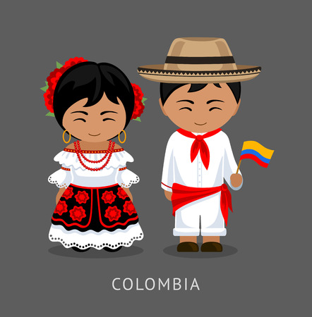 Colombians in national dress with a flag. Man and woman in traditional costume. Travel to Colombia. People. Vector flat illustration.