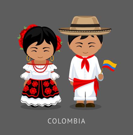 Colombiens en costume national avec un drapeau. Homme et femme en costume traditionnel. Voyage en Colombie. Gens. Plate illustration vectorielle.