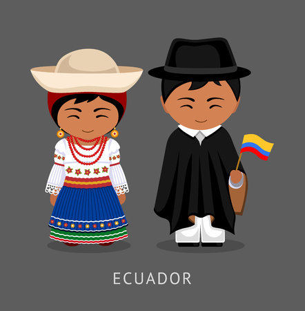 Ecuadorians in national dress with a flag. Man and woman in traditional costume. Travel to Ecuador. People. Vector flat illustration.