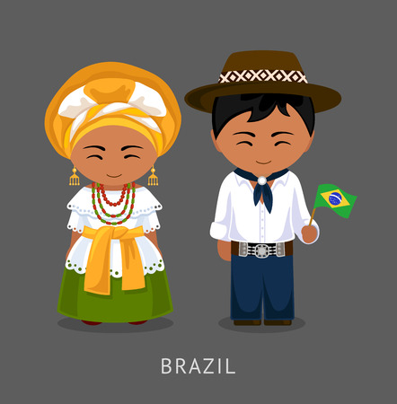 Brazilians in national dress with a flag. Man and woman in traditional costume. Travel to Brazil. People. Vector flat illustration. Stock Illustratie