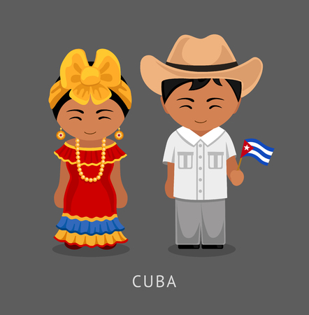 Cubans in national dress with a flag. Man and woman in traditional costume. Travel to Cuba. People. Vector flat illustration.
