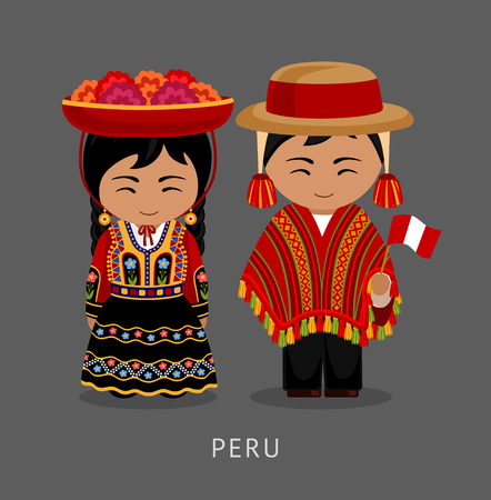 Peruvian in national dress. Man and woman in traditional costume. Travel to Peru. People. Vector flat illustration. 일러스트