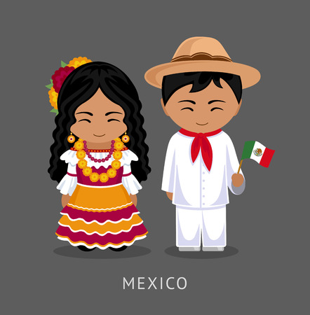 Mexicans in national dress with a flag. A man and a woman in traditional costume. Travel to Mexico. People. Vector flat illustration. Vettoriali