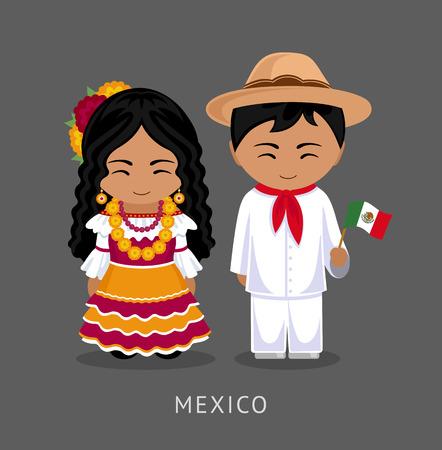 Mexicanos en traje nacional con una bandera. Un hombre y una mujer en traje tradicional. Viaje a mexico. Personas. Vector ilustración plana Ilustración de vector