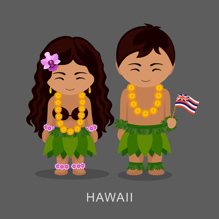 Hawaiians in national dress with a flag. Man and woman in traditional costume. Travel to Hawaii. People. Vector flat illustration.