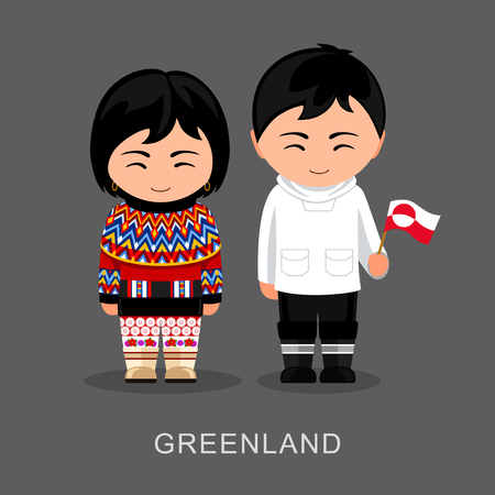 Greenlanders in national dress with a flag. Man and woman in traditional costume. Travel to Greenland. People. Vector flat illustration. 矢量图像