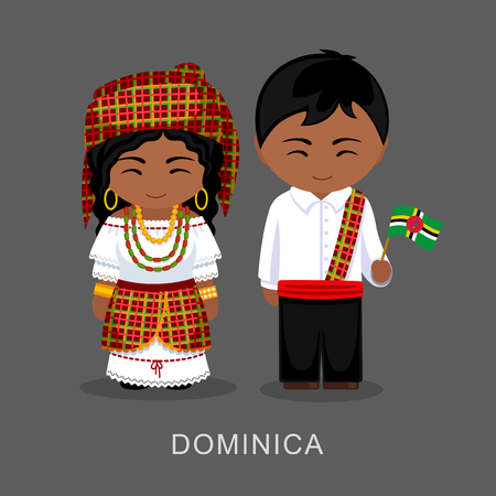 Dominicans in national dress with a flag. Man and woman in traditional costume. Vector flat illustration. Vettoriali