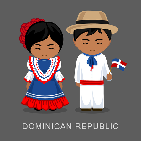 Dominicans in national dress with a flag. Man and woman in traditional costume. Travel to Dominican Republic. People. Vector flat illustration.