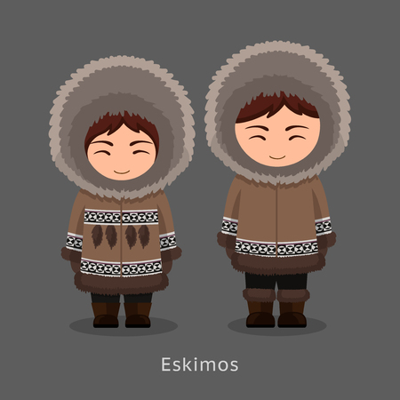 Eskimos in national clothes. Man and woman in traditional costume. People. Vector flat illustration.
