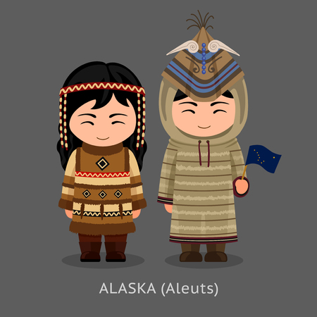 Aleuts in national clothes with a flag. Man and woman in traditional costume. Travel to Alaska. People. Vector flat illustration. Illustration
