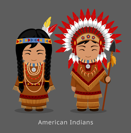 Native american indians in national dress. Man and woman in traditional costume. People. Vector flat illustration. Vettoriali