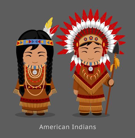 Indiani nativi americani in abito nazionale. Uomo e donna in costume tradizionale. Persone. Illustrazione piatta vettoriale. Vettoriali