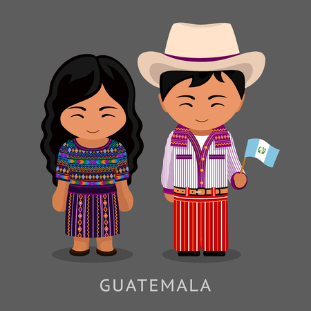 Guatemalans in national dress with a flag. Man and woman in traditional costume. Travel to Guatemala. People. Vector flat illustration.