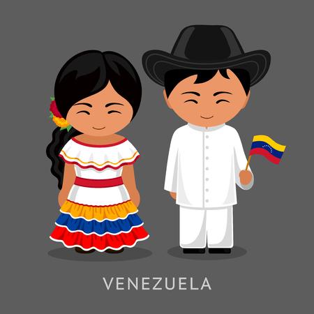 Venezolaner im nationalen Kleid mit einer Flagge. Mann und Frau in Tracht. Reisen nach Venezuela. Menschen. Flache Vektorgrafik. Vektorgrafik