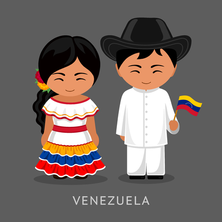 Venezuelans in national dress with a flag. Man and woman in traditional costume. Travel to Venezuela. People. Vector flat illustration. Vettoriali
