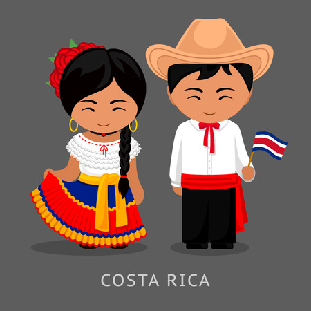 Costa Ricans in national dress with a flag. Man and woman in traditional costume. Travel to Costa Rica. People. Vector flat illustration.
