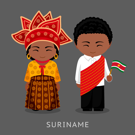 Surinamese in national dress with a flag. Man and woman in traditional costume. Travel to Suriname. People. Vector flat illustration.
