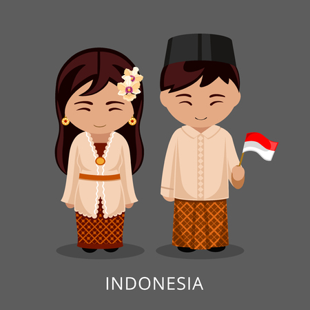 Indonesians in national dress with a flag. Man and woman in traditional costume. Travel to Indonesia, Bali. People. Vector flat illustration.
