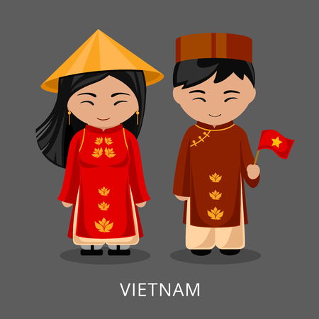 Vietnamese in national dress with a flag. Man and woman in traditional costume. Travel to Vietnam. People. Vector flat illustration. Vettoriali