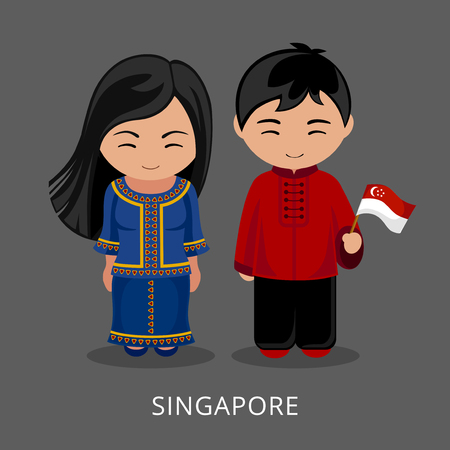 Singaporeans in national dress with a flag. Man and woman in traditional costume. Travel to Singapore. People. Vector flat illustration.