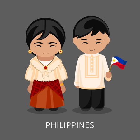 Filipinos in national dress with a flag. Man and woman in traditional costume. Travel to Philippines. People. Vector flat illustration. 일러스트