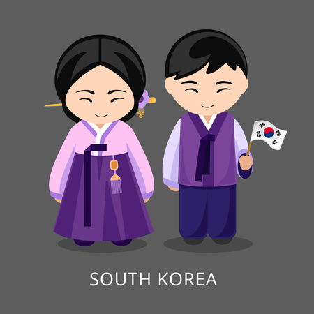 Koreans in national dress with a flag. Man and woman in traditional costume. Travel to South Korea. People. Vector flat illustration. Illustration