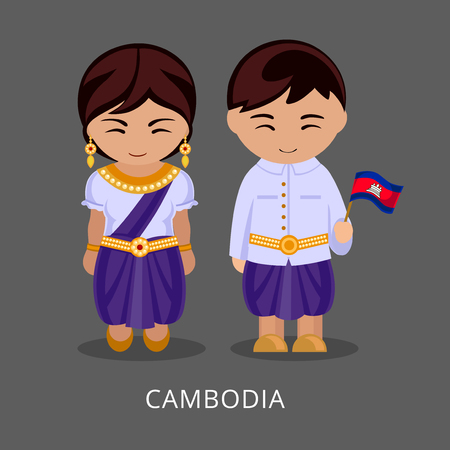 Cambodians in national dress with a flag. Man and woman in traditional costume. Travel to Cambodia. People. Vector flat illustration.