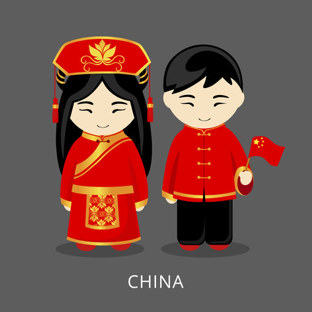 Chinese in national dress with a flag. Man and woman in traditional costume. Travel to China. People. Vector flat illustration.