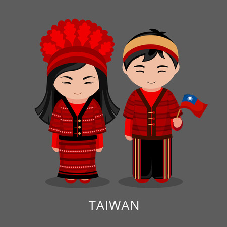 Taiwanese in national dress with a flag. Man and woman in traditional costume. Travel to Taiwan. People. Vector flat illustration.