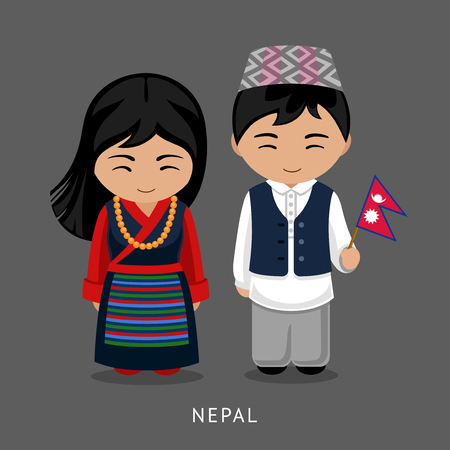 Nepalese in national dress with a flag. Man and woman in traditional costume. Travel to Nepal. People. Vector flat illustration.