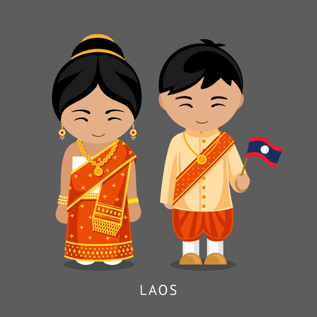 Laotians in national dress with a flag. Man and woman in traditional costume. Travel to Laos. People. Vector flat illustration.