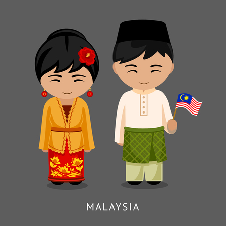 Malaysians in national dress with a flag. Man and woman in traditional costume. Travel to Malaysia. People. Vector flat illustration. Vectores