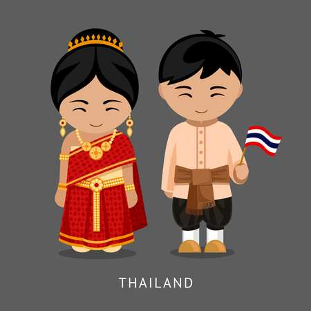 Thais in national dress with a flag. Man and woman in traditional costume. Travel to Thailand. People. Vector flat illustration. Vettoriali