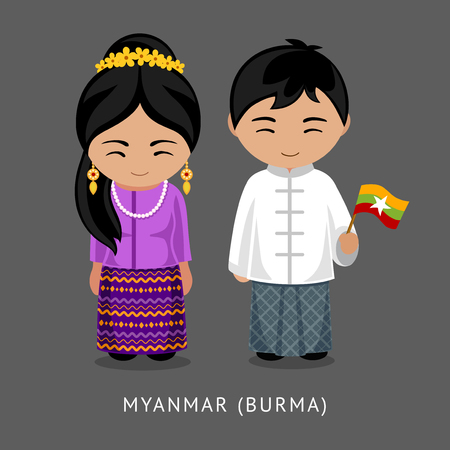 Burmese in national dress with a flag. Man and woman in traditional costume. Travel to Burma (Myanmar). People. Vector flat illustration. Иллюстрация