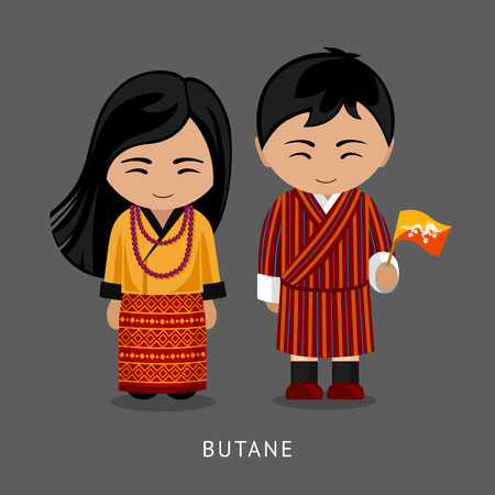Bhutanese in national dress with a flag. Man and woman in traditional costume. Travel to Bhutan. People. Vector flat illustration. Illustration