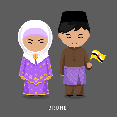 Bruneians in national dress with a flag. Man and woman in traditional costume. Travel to Brunei. People. Vector flat illustration.