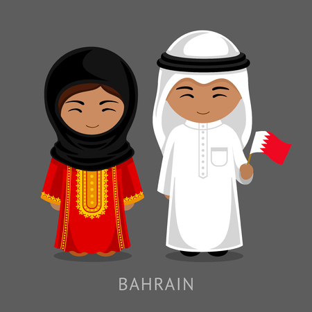Bahrainis in national dress with a flag. Man and woman in traditional costume. Travel to Bahrain. People. Vector flat illustration. Vectores