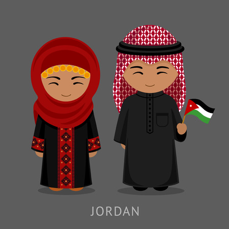 Jordanians in national dress with a flag. Man and woman in traditional costume. Travel to Jordan. People. Vector flat illustration. Stock Illustratie