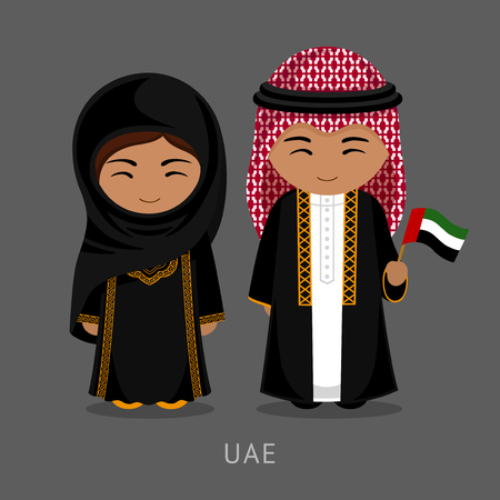 Travel to United Arab Emirates. People in national dress with a flag. Man and woman in traditional costume. Vector flat illustration. 矢量图像