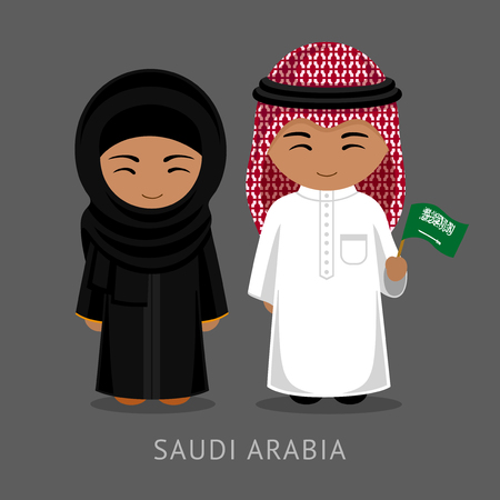Travel to Saudi Arabia. People in national dress with a flag. Man and woman in traditional costume. Vector flat illustration.