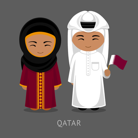 Travel to Qatar. People in national dress with a flag. Man and woman in traditional costume. Vector flat illustration.