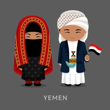 Travel to Yemen. Man and woman in traditional costume. People with flag. Vector flat illustration.